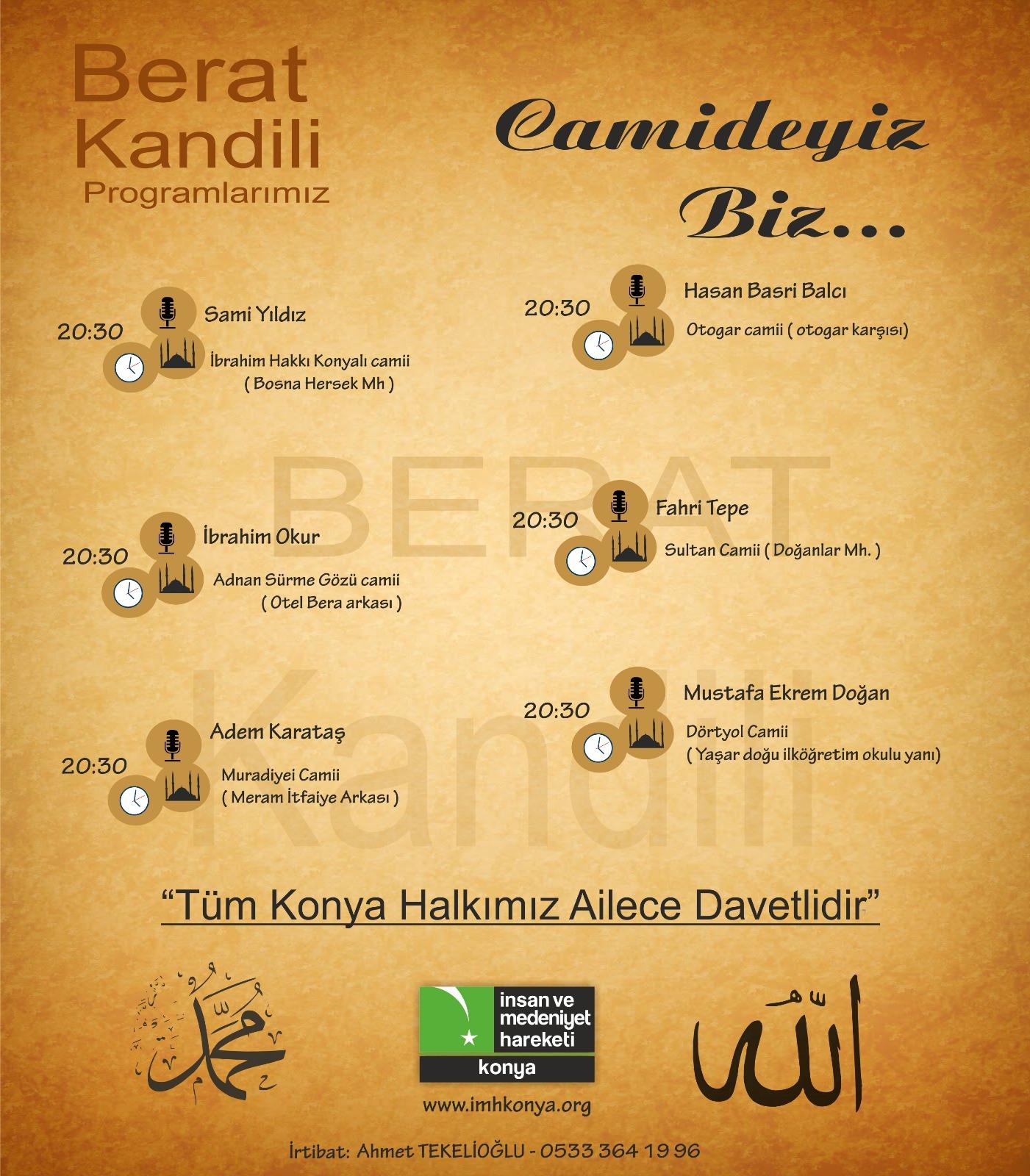 İMH Konya'dan Beraat Kandili Programları
